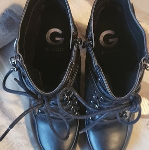 Guess Shoes - Guess black leather block heel booties sz 9.5